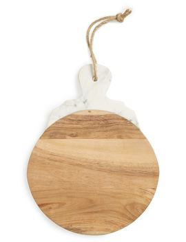 Lavender Marble & Wood Round Tray by Nordstrom At Home
