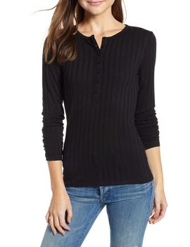 Button Front Henley Top by Treasure & Bond