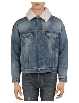 Denim Jacket With Faux Fur Collar by The Kooples