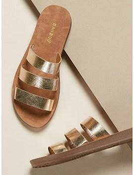 Metallic Triple Strap Slide Flat Sandals by Sheinside