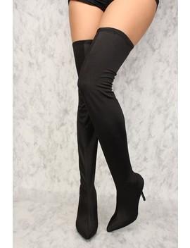 Sexy Black High Shine Thigh High Heel Boots by Ami Clubwear