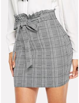 Paperbag Waist Houndstooth Fitted Skirt by Shein