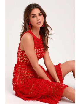 Larissa Red Crochet Lace Sleeveless Midi Dress by Lulus