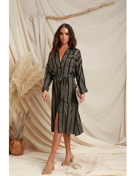 Luxe Light Black And Gold Striped Shirt Dress by Lulu's