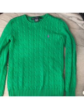 Green Ralph Lauren Cable Knit Sweater by Ralph Lauren