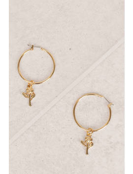 Flower Fields Gold Charmed Hoop Earrings by Tobi