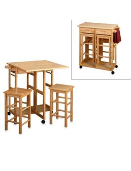 Natural Breakfast Bar With Two Stools by Bed Bath And Beyond