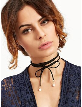 Black Bow Faux Pearl Wrap Choker Necklace by Romwe