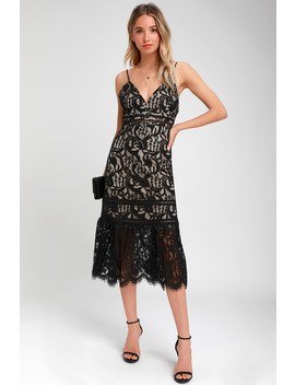 Hope You Dance Black And Nude Lace Midi Dress by Lulus