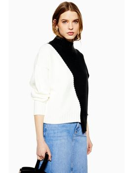 Asymmetric Colour Block Jumper by Topshop