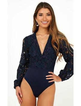 Getaway Girl Bodysuit In Navy Lace by Showpo Fashion