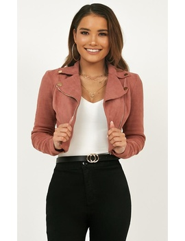 Riders Paradise Jacket In Blush Suedette by Showpo Fashion