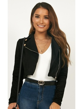 Riders Paradise Jacket In Black Suedette by Showpo Fashion