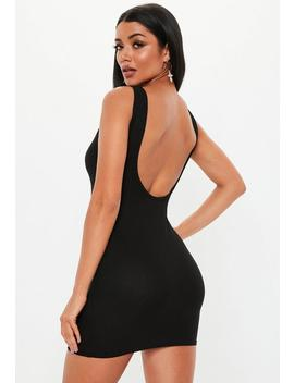 Petite Black Scoop Back Mini Dress by Missguided