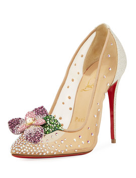 Feerica Crystal Embellished Red Sole Pump, White by Neiman Marcus