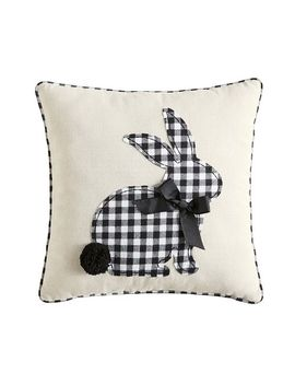 Gingham Bunny Black & White Pillow by Pier1 Imports
