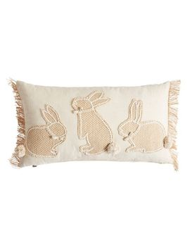 Three Bunnies Jute Natural Lumbar Pillow by Pier1 Imports