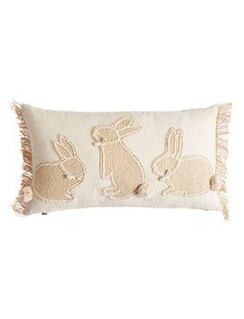 Three Bunnies Jute Natural Lumbar Pillow by Pier1 Imports