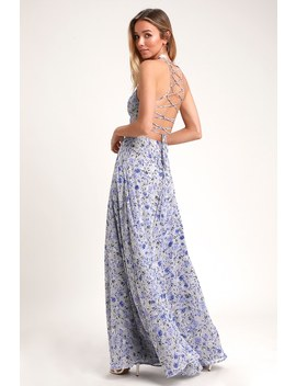 Dora Light Blue Floral Print Lace Up Maxi Dress by Lulus