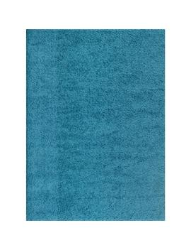 Soft Cozy Solid Turquoise 5 Ft. 3 In. X 7 Ft. 3 In. Indoor Shag Area Rug by World Rug Gallery