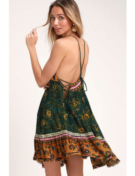 Casablanca Green Multi Print Slip Dress by Free People