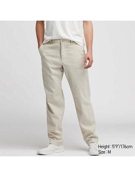 Men Cotton Linen Relaxed Pants by Uniqlo