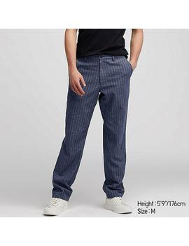 Men Cotton Linen Striped Relaxed Pants by Uniqlo