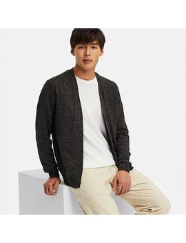 Men Linen Blended V Neck Long Sleeve Cardigan by Uniqlo
