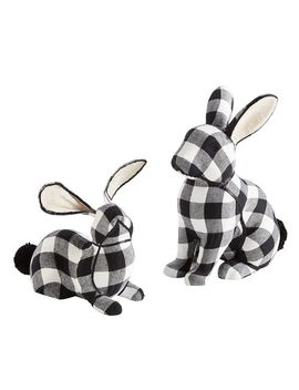 Black &Amp; White Gingham Bunnies by Pier1 Imports