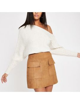 Light Brown Suede Mini Skirt by River Island