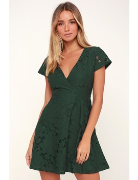 Tia Dark Green Lace Skater Dress by Black Swan