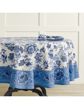 jaipur-print-tablecloth,-round by williams---sonoma
