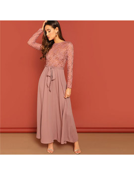 Shein Pink Sheer Lace Insert Belted Floral Print And Flare Maxi Dress Sexy Mesh Lace Long Sleeve Spring Women Party Dress by She In