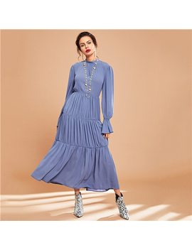 Shein Blue Elegant Solid Ruffle Keyhole Back Flounce Sleeve Pleated Long Sleeve Dress Autumn Modern Lady Casual Women Dresses by She In