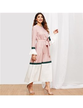 Shein Multicolor Waist Belted Bell Sleeve Color Block Flounce Sleeve Dress Casual Elegant Women Autumn Modern Lady Dresses by She In