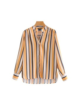 Vadim Women Casual Striped Loose Blouse V Neck Long Sleeve Asymmetrical Design Shirts Female Fashion Chic Tops Blusas La750 by Vadim