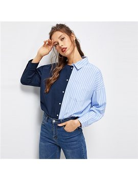 Romwe Asymmetrical Neck Striped Print Shirt Spring Autumn Long Sleeve Womens Tops And Blouses Stylish Patchwork Women Blouse by Romwe