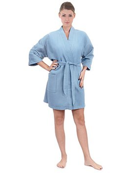 Women's Knee Length Waffle Weave Kimono Bathrobe, Short Spa Robes by Turkish Linen