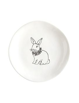Black &Amp; White Bunny Sketch Salad Plate by Pier1 Imports