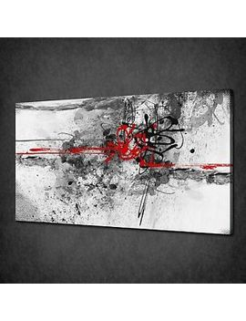 Red Grey Black Paint Splash Abstract Canvas Wall Art Print Picture Ready To Hang by Ebay Seller