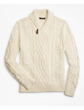 Supima® Cotton Anchor Cable Shawl Collar Cardigan by Brooks Brothers