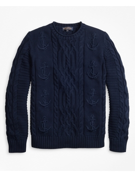 Supima® Cotton Anchor Cable Rollneck Sweater by Brooks Brothers
