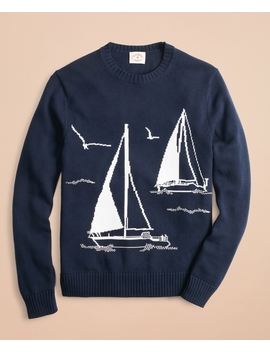Cotton Sailboat Crewneck Sweater by Brooks Brothers
