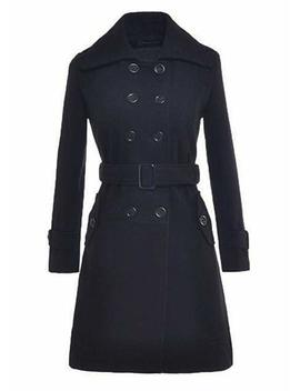Women's Autumn Winter Double Breasted Long Woolen Coat With Belt by Amazon