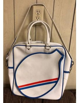 Red White Blue Tennis Duffle Gym Bag  Vtg Racquet Case Faux Leather Vinyl Handle by Unbranded