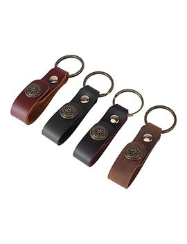 4pcs Antique Handmade Leather Keychain Strap Car Key Ring With Clasp Men Black Brown by Wal Front