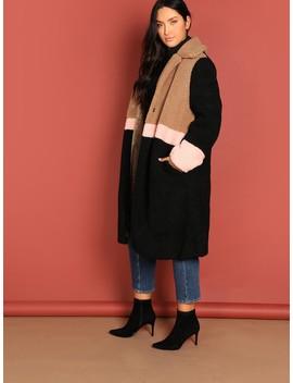 Plus Cut And Sew Teddy Coat by Shein