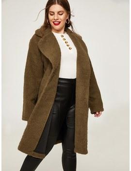 Plus Plain Teddy Coat by Sheinside
