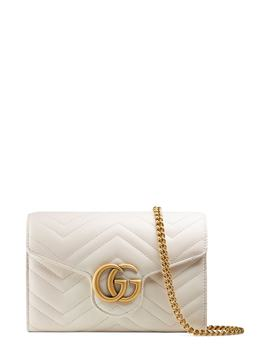 Gg Marmont Matelassé Leather Wallet On A Chain by Gucci