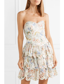 Bowie Ruffle Strapless Floral Print Broderie Anglaise Linen Mini Dress by Zimmermann